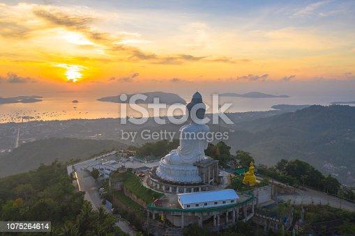 scenery aerial photography sunrise at Phuket big Buddha. Phuket Big Buddha is one of the island most