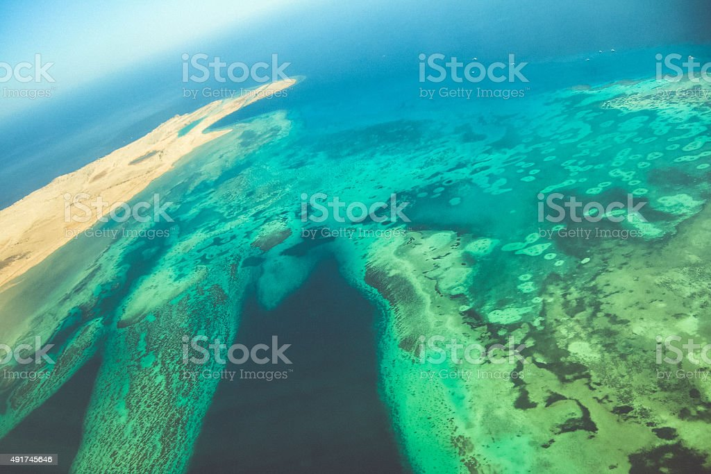 Aerial photography, view from the plane on Sharm el-Sheikh stock photo