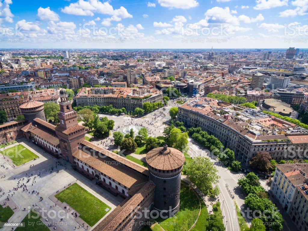 Aerial photography view of Sforza castello castle in  Milan city in Italy - foto stock