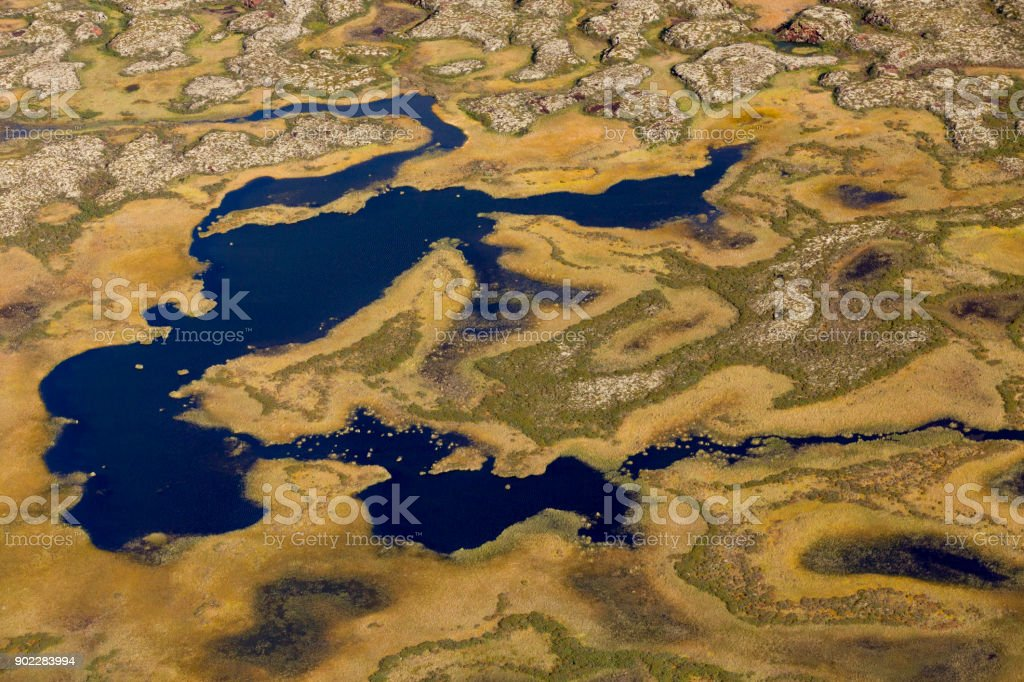 Aerial Photos Of Arctic Tundra Wetlands Stock Photo - Download Image Now