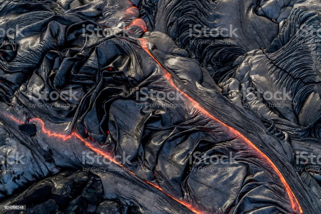 Aerial photos of volcano lava flow on Big Island of Hawaii stock photo