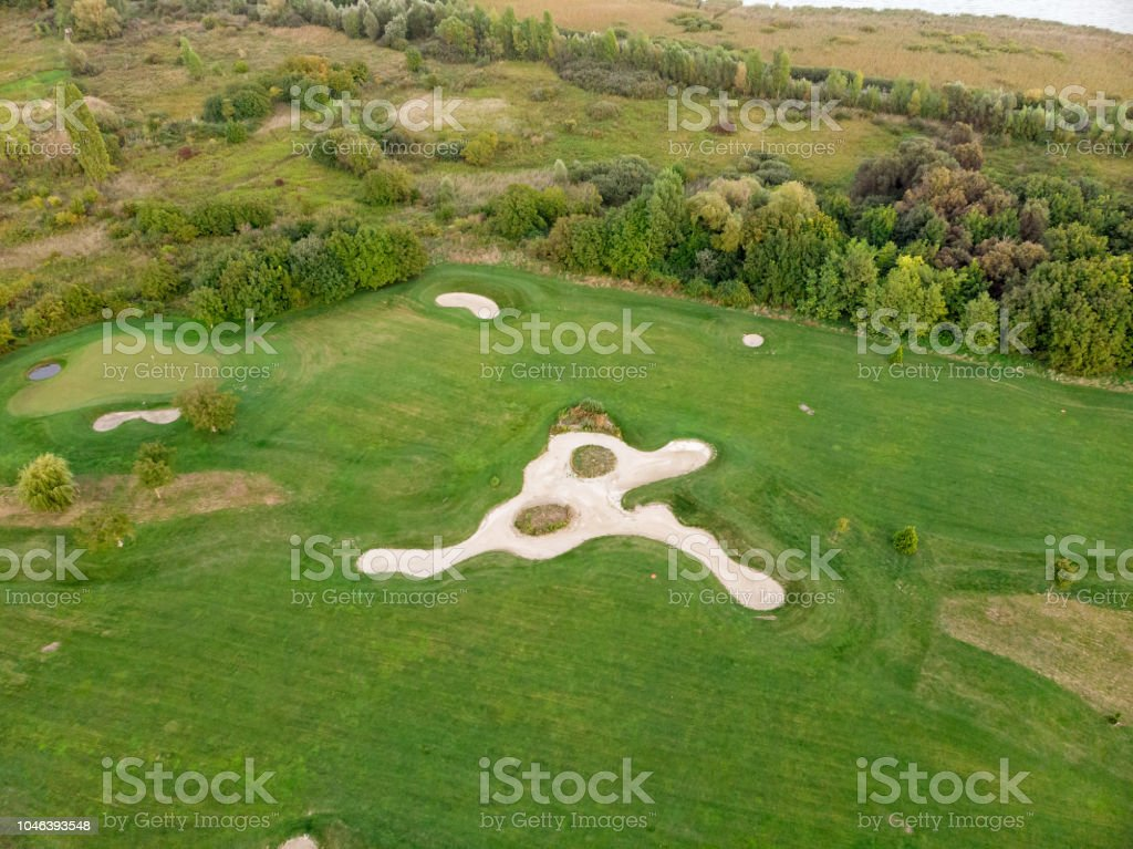 Aerial picture from a golf place in Hungary near the Lake Balaton – zdjęcie