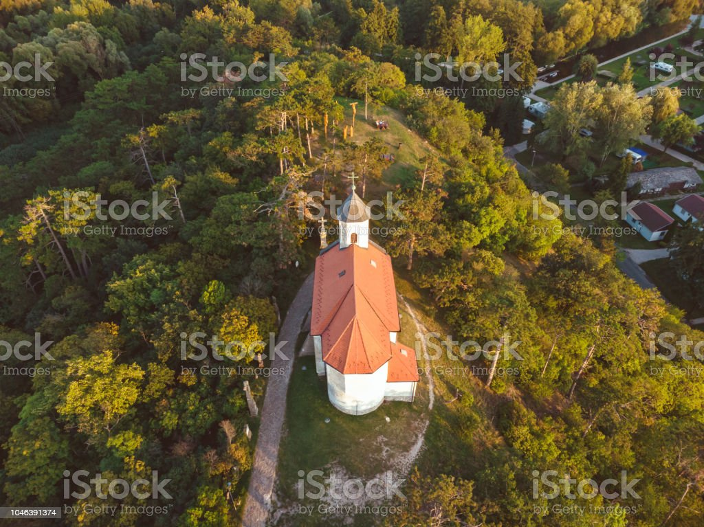 Aerial picture from a small chapel in a Hungarian village Vonyarcvashegy, near the famous lake Balaton – zdjęcie