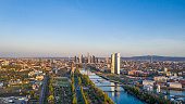 Aerial picture of Frankfurt skyline and European Central Bank building during sunrise