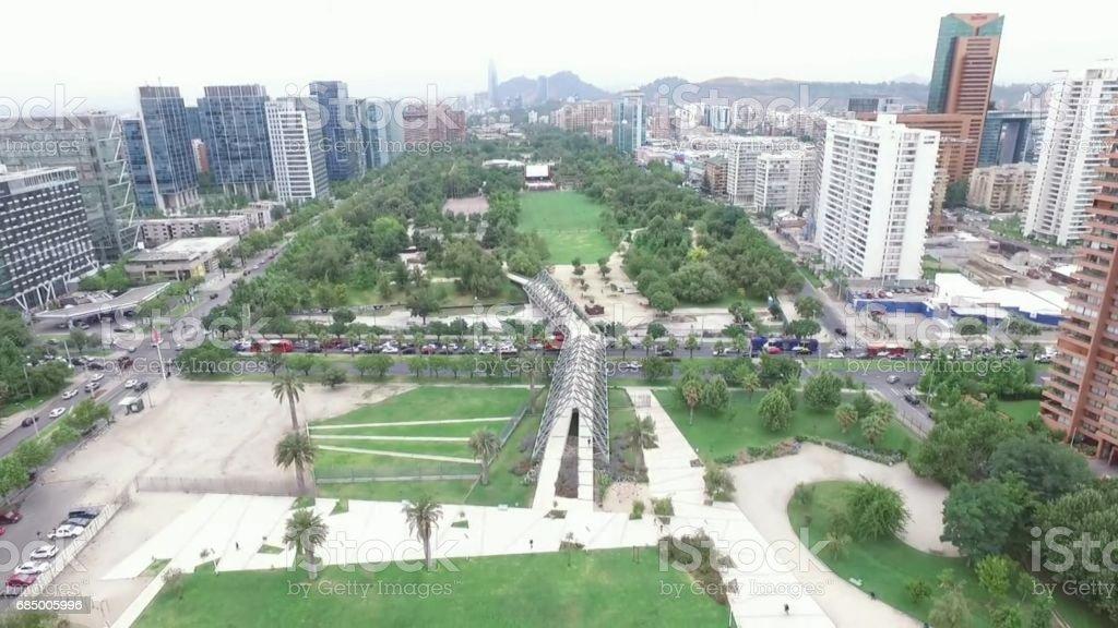 Aerial picture of landscape, park and buildings in Santiago, Chile Lizenzfreies stock-foto