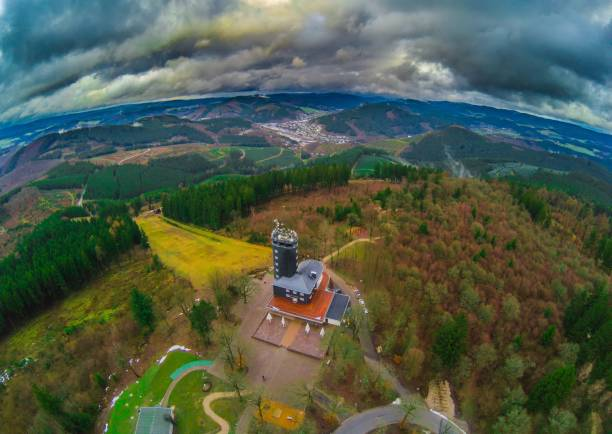 Aerial picture of the viewpoint Hohe Bracht in the region Sauerland in Germany stock photo