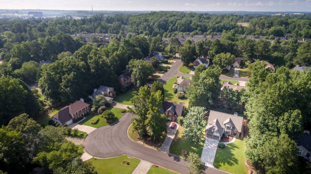 Aerial Picture of typical suburban houses in southern United States stock photo