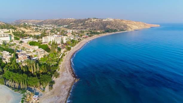 aerial pissouri bay, limassol, cyprus - cyprus стоковые фото и изображения