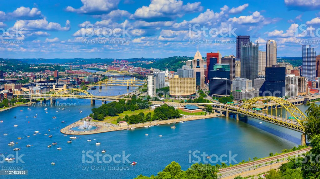 Aerial Pittsburgh Skyline Aerial Pittsburgh Skyline Aerial View Stock Photo