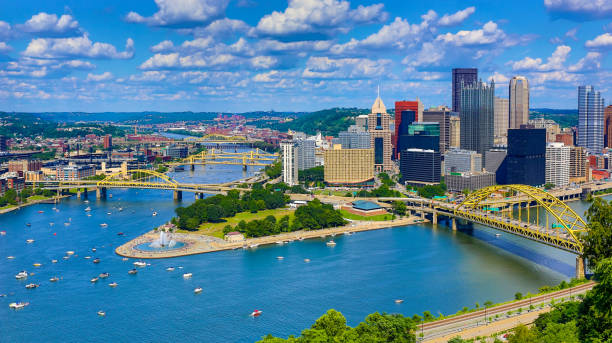 Aerial Pittsburgh Skyline Aerial Pittsburgh Skyline pittsburgh stock pictures, royalty-free photos & images