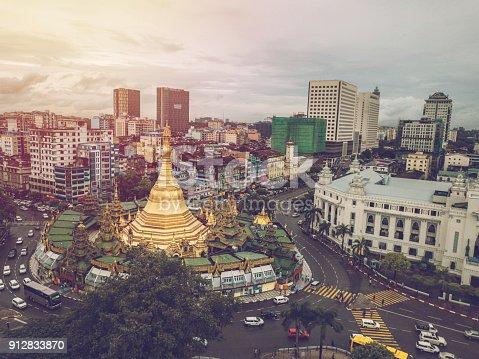 Aerial point of view of Sule Pagoda in Yangon city, Myanmar