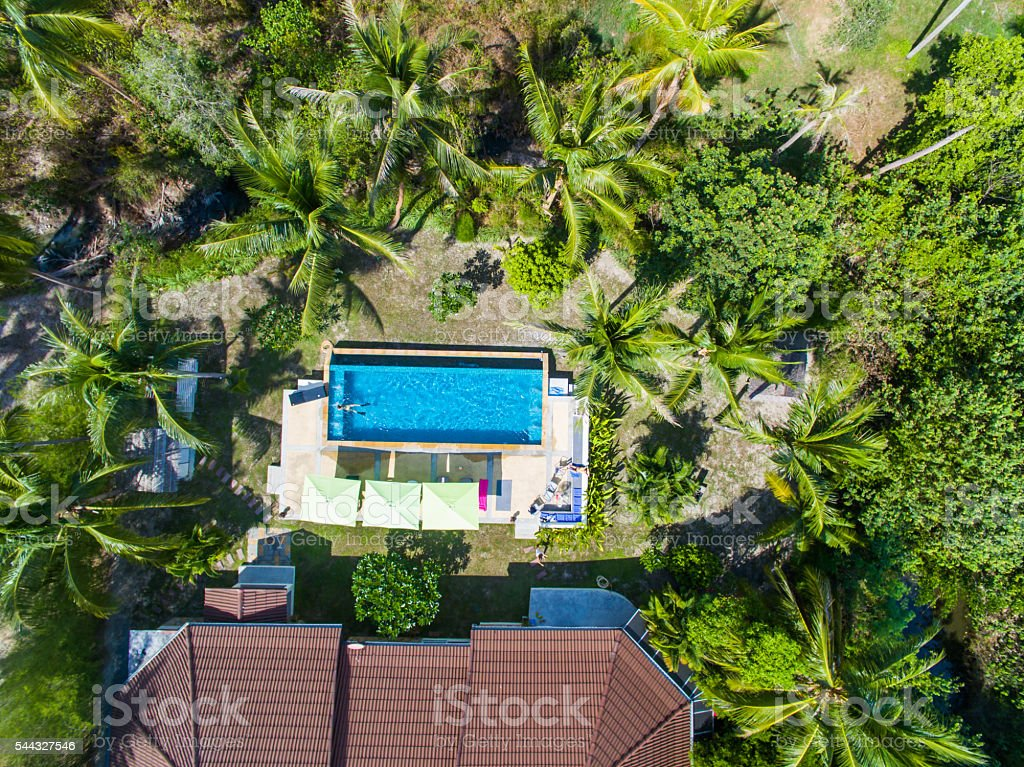 Aerial pool view stock photo