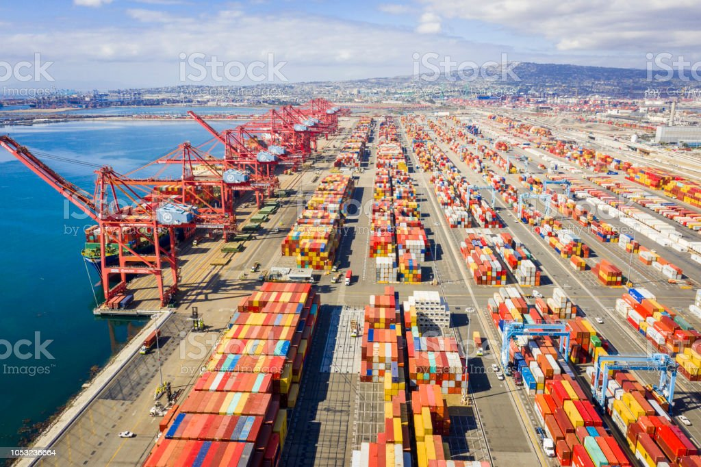 Aerial Port of Long Beach Container Yard stock photo