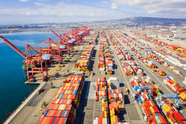 aerial port of long beach container yard - pier stock photos and pictures