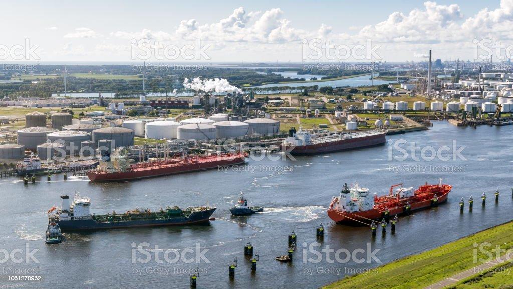 Aerial port of rotterdam ships stock photo