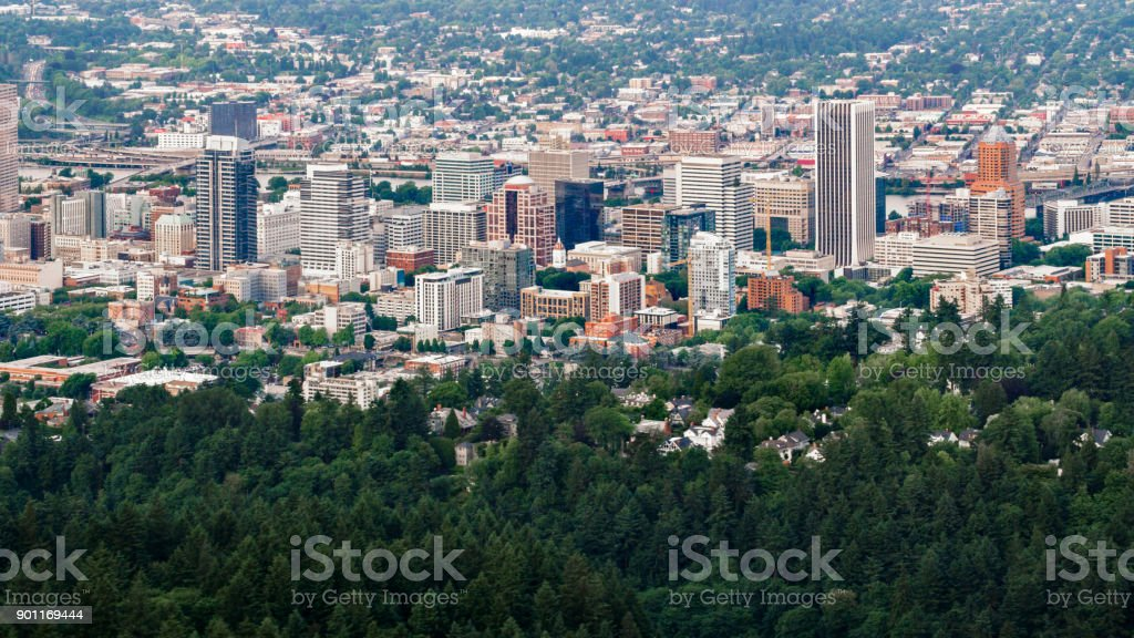 Aerial Portland downtown with Willamette River in background stock photo