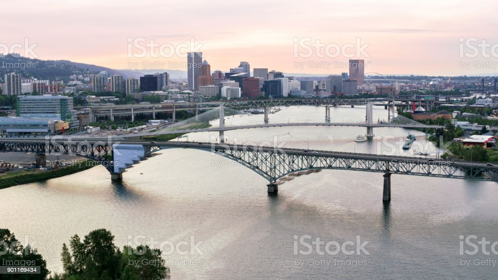 Aerial Portland with Willamette River from Ross Island stock photo