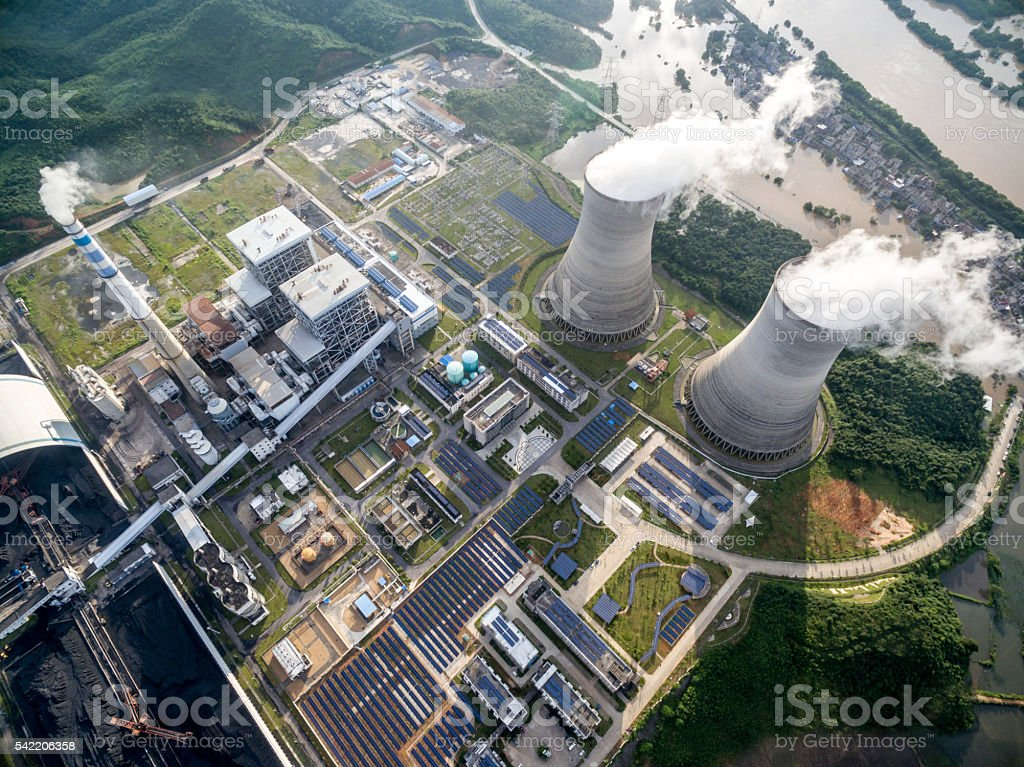 Aerial power plant stock photo