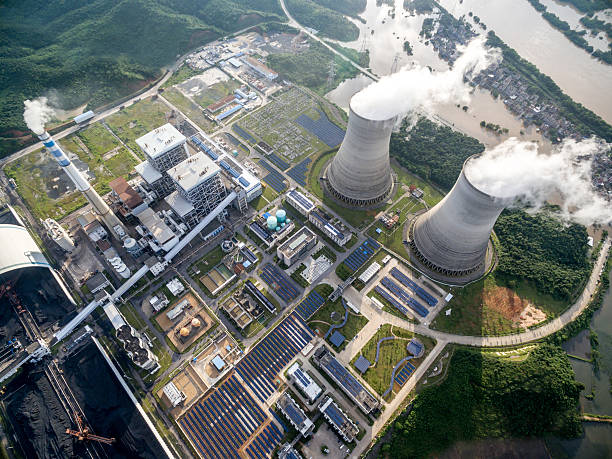 Aerial power plant stock photo