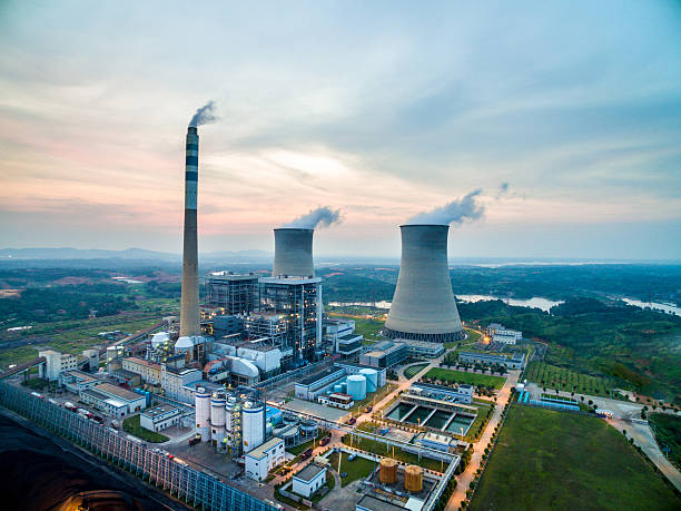 Aerial Power Sunset times Aerial Power Sunset times nuclear power station stock pictures, royalty-free photos & images