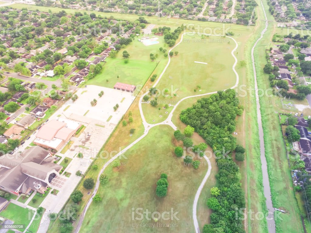 Aerial residential houses, driveways neighborhood in Houston, Texas, USA stock photo