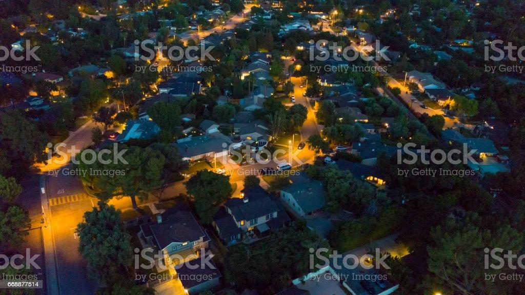 Aerial Residential Neighborhood at Night stock photo
