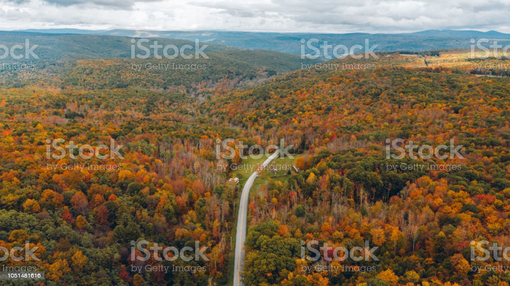Aerial Road Trip in Catskill Mountain New York Aerial Road Trip in Catskill Mountain New York Above Stock Photo