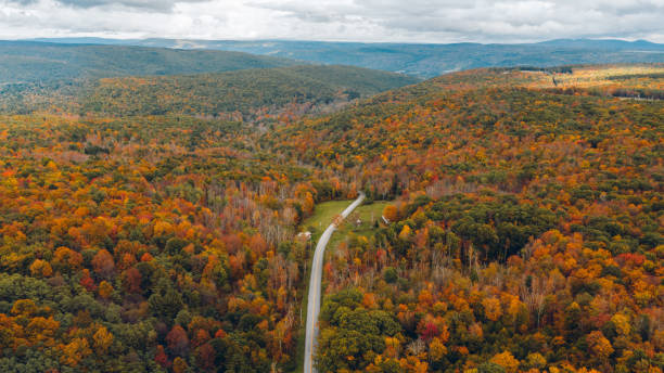 Aerial Road Trip in Catskill Mountain New York Aerial Road Trip in Catskill Mountain New York catskill mountains stock pictures, royalty-free photos & images