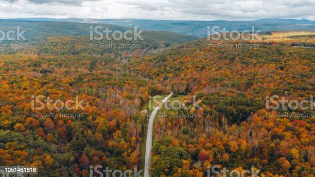 Aerial Road Trip In Catskill Mountain New York Stock Photo - Download Image Now