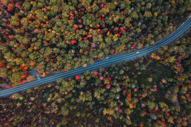 Aerial Road Trip in Minnewaska State Park Preserve stock photo