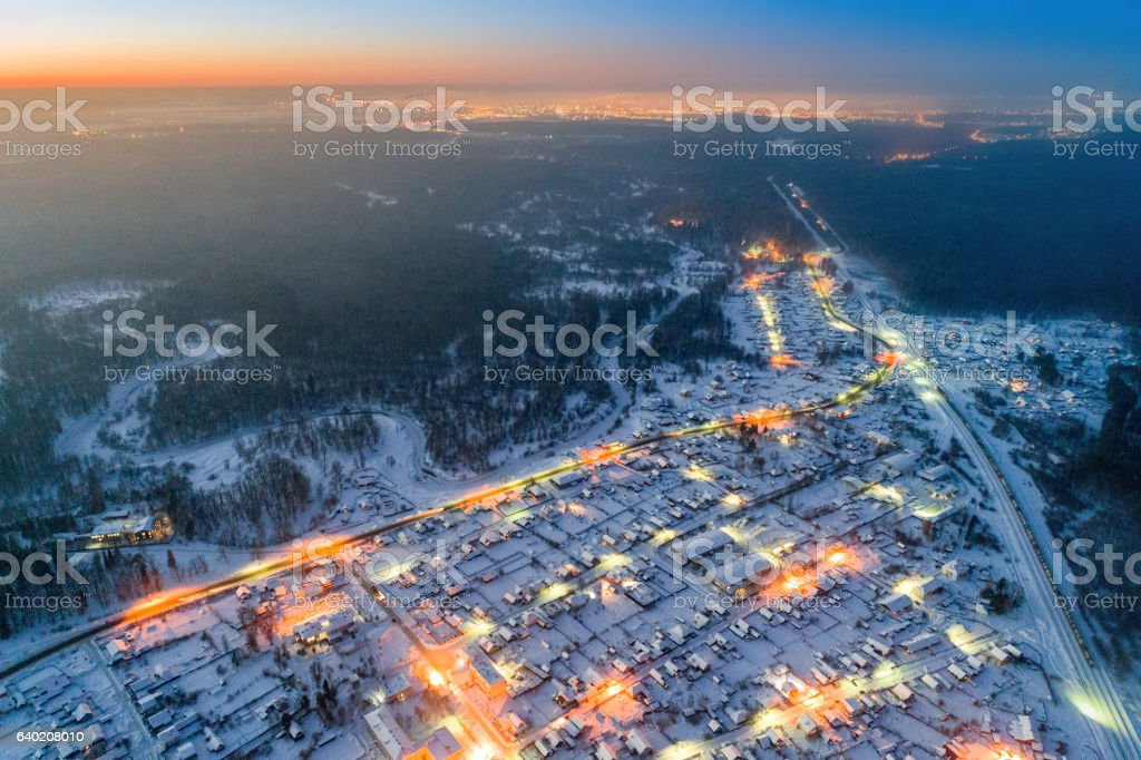 Aerial Rural Landscape At Night stock photo