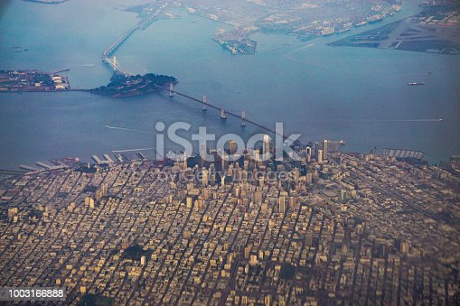 An aerial shot of San Francisco taken from the plane.