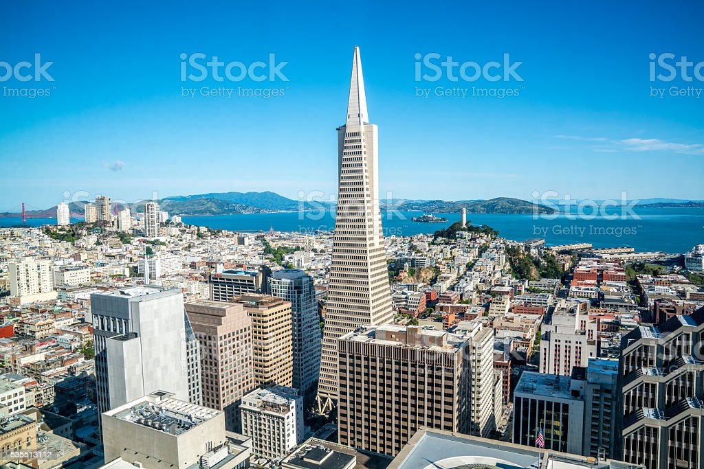 Aerial San Francisco Skyline Downtown California stock photo