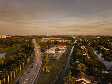Aerial Scenes of a Colorful Sunset Over in Central West Palm Beach, Florida in January of 2021.