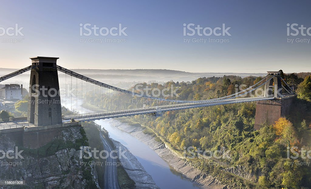 Aerial scenic view of Clifton Suspension Bridge stock photo