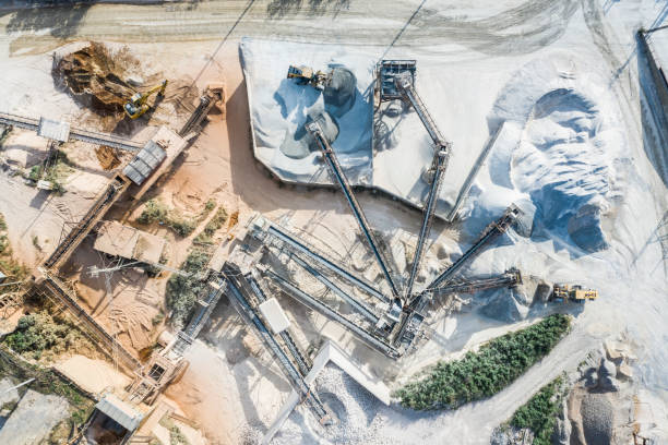 Aerial shooting at the construction site.Landfilling work. stock photo