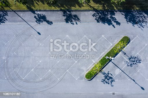istock Aerial shooting of a parking lot with nobody. 1080101182
