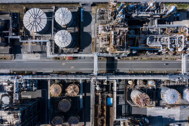 Aerial shooting of an Power Station. stock photo