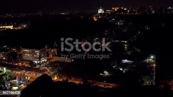 Aerial shooting Kiev city in evening, St Andrew's Church autumn. Ukraine