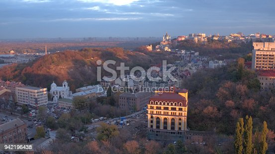 Aerial shooting night city Kiev and St Andrew's Church, Europe, Ukraine