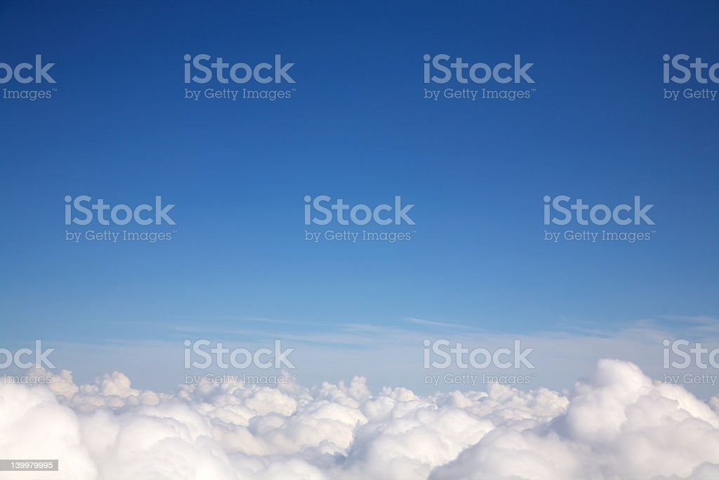 Aerial shot above the clouds stock photo