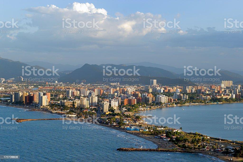 Aerial shot capturing the beauty of Puerto la Cruz stock photo