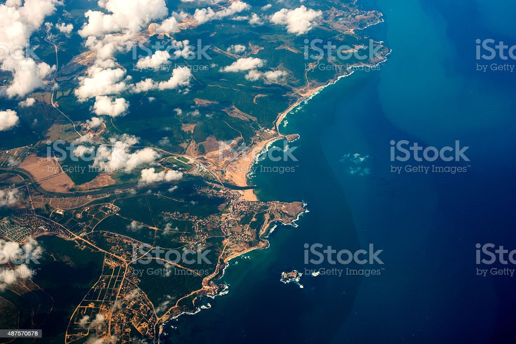 aerial shot from a plane stock photo
