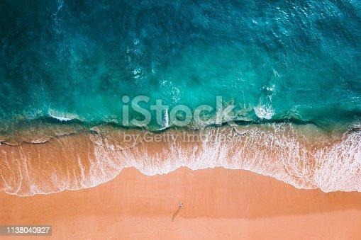 blue ocean and orange sand