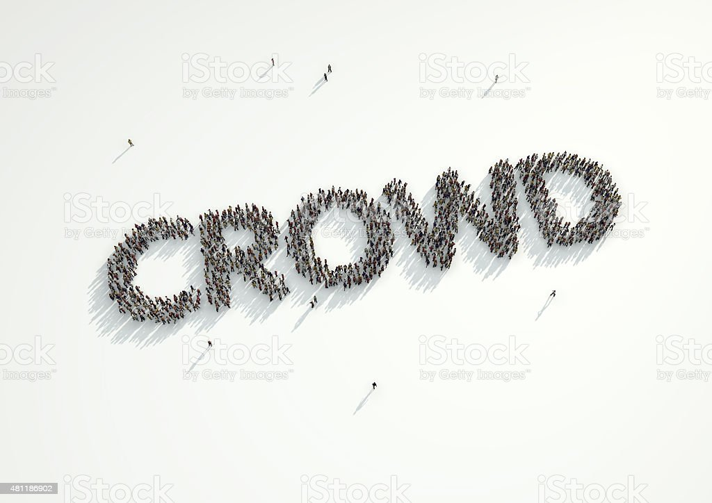 Aerial shot of a crowd of people form word Crowd. stock photo