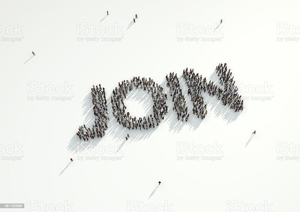 Aerial Shot Of A Crowd People Form Word Join Royalty Free Stock Photo