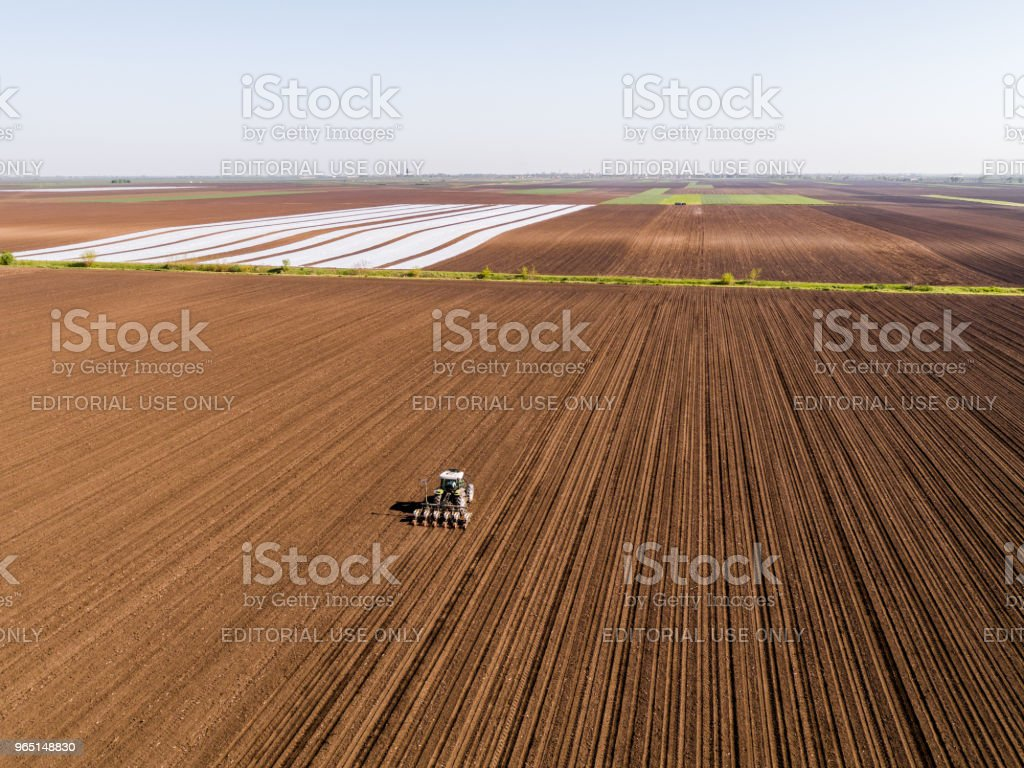 Aerial shot of a farmer seeding, sowing crops at field. zbiór zdjęć royalty-free