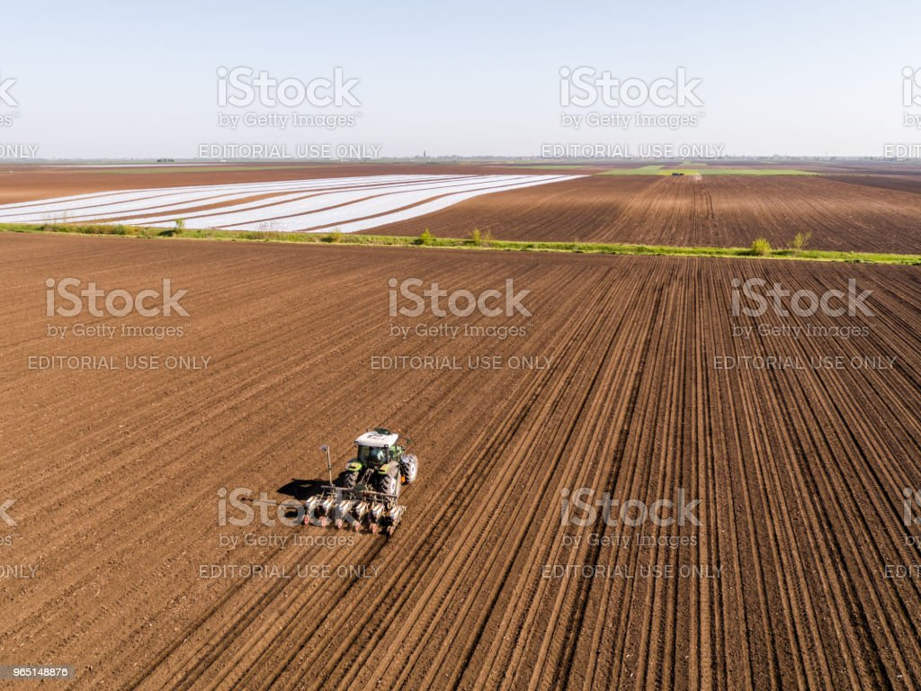 Aerial shot of a farmer seeding, sowing crops at field. zbiór zdjęć royalty-free