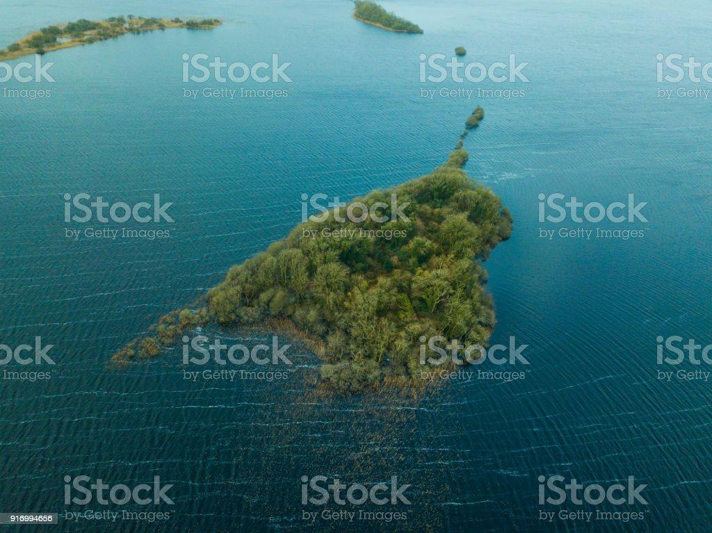Aerial shot of a green island, Athlone, Westmeath, Ireland. royalty-free stock photo