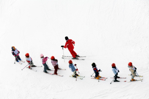 Aerial shot of a group of young skiers and instructor